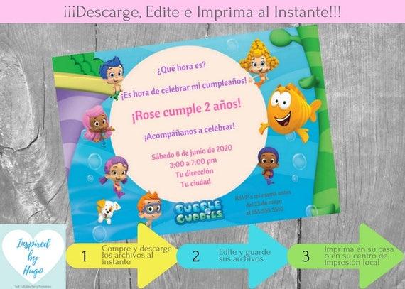 Invitación Bubble Guppies Fiesta Cumpleaños Niña Y Tarjeta De Agradecimiento Descarga Instantánea Invitación En Español Para Personalizar