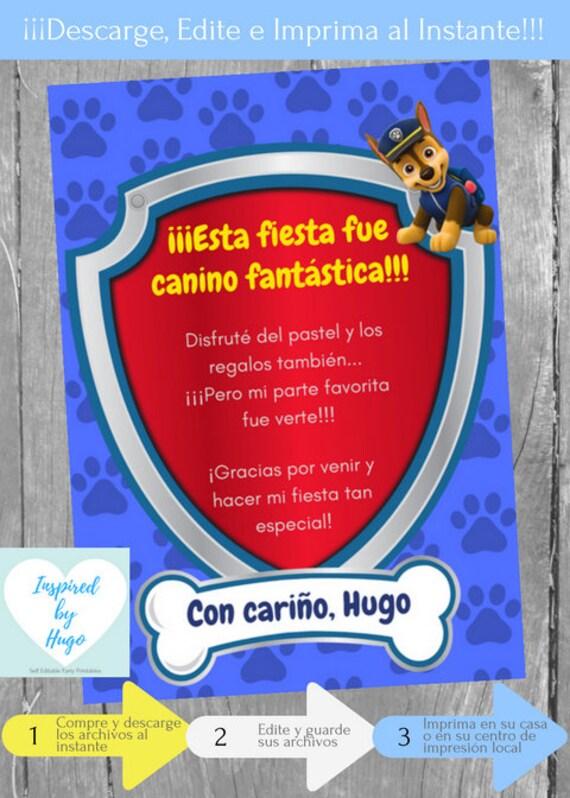 Invitación Patrulla Canina Fiesta Cumpleaños Niño Y Tarjeta De Agradecimiento Descarga Instantánea Invitación En Español Para Personalizar