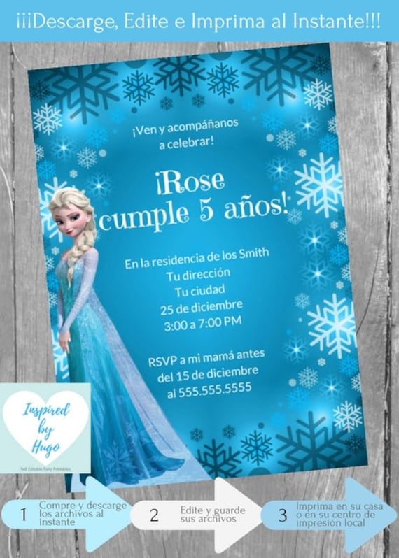Invitación Frozen Fiesta Cumpleaños Niña Invitación Disney Frozen Descarga Instantánea Invitación En Español Editable Para Personalizar