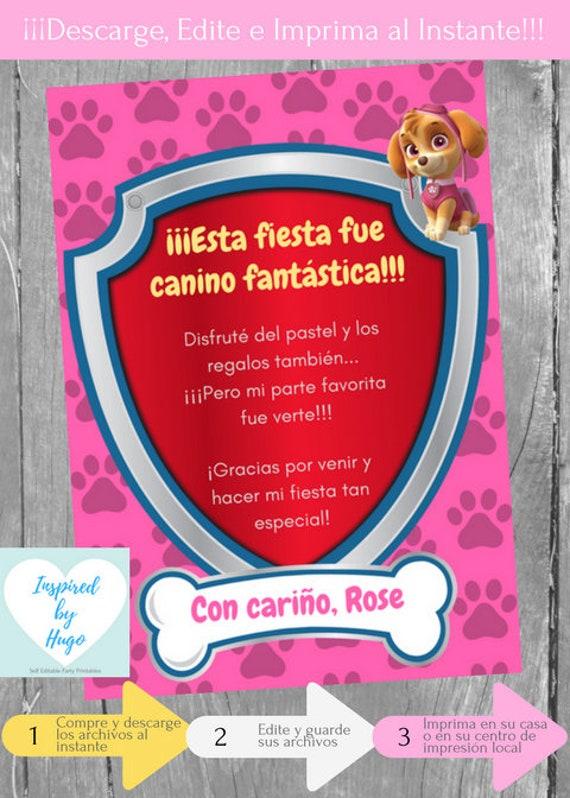 Invitación Patrulla Canina Fiesta Cumpleaños Niña Y Tarjeta De Agradecimiento Descarga Instantánea Invitación En Español Para Personalizar