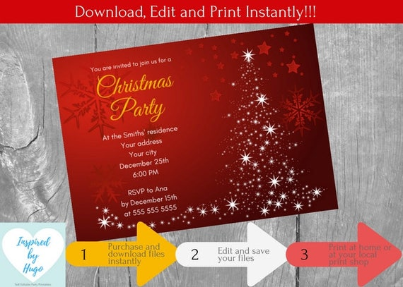 Office Christmas Party Invitation.Christmas Party Invitation Corporate Family Office Christmas Dinner Party Xmas Instant Download Editable Invitation To Personalize