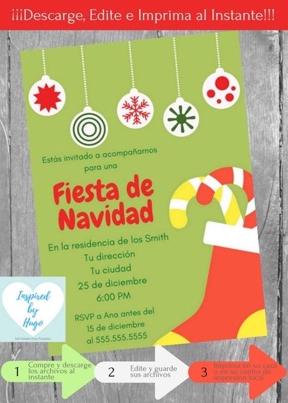 Invitación Fiesta De Navidad Invitación Fiesta Familiar Empresarial Descarga Instantánea Invitación En Español Editable Para Personalizar