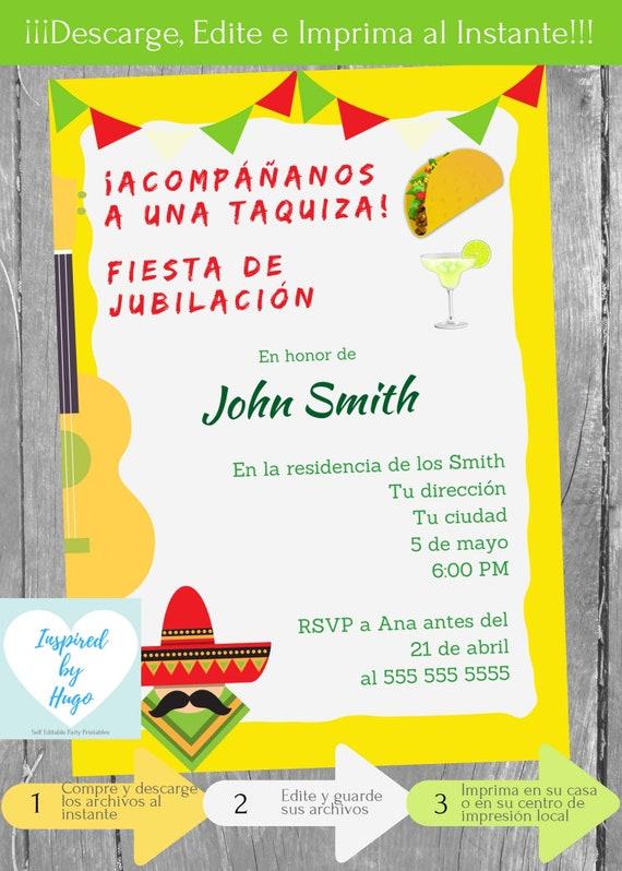Invitación Fiesta De Jubilación Invitación De Retiro Fiesta Mexicana Descarga Instantánea Invitación En Español Editable Para Personalizar
