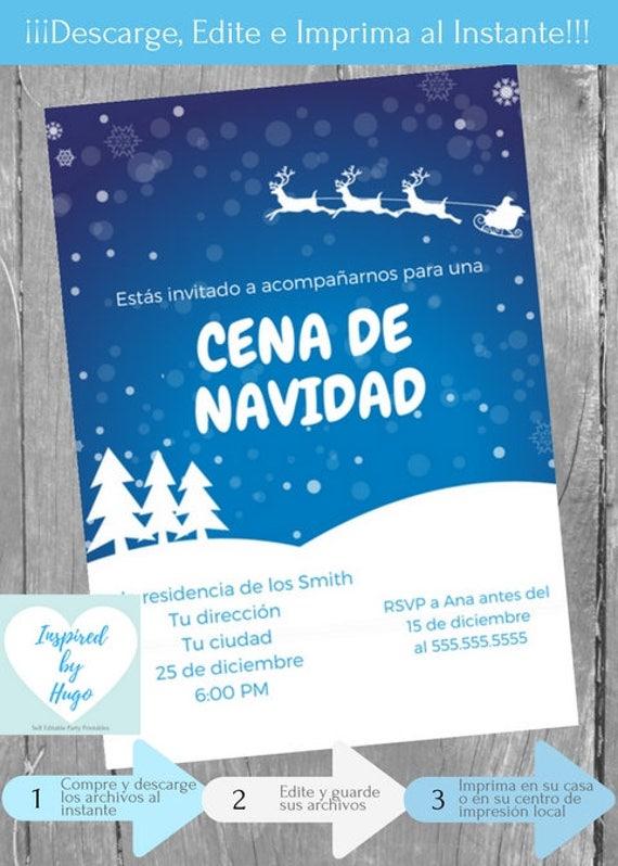 Invitación Cena De Navidad Invitación Cena Familiar Cena Empresarial Descarga Instantánea Invitación En Español Editable Para Personalizar