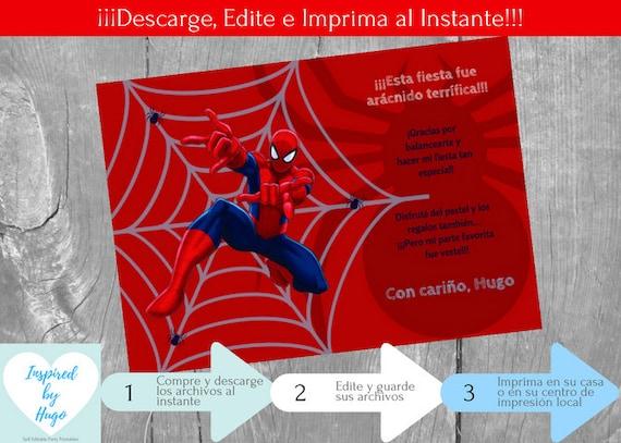 Invitación Hombre Araña Cumpleaños Niño Y Tarjeta De Agradecimiento Spiderman Descarga Instantánea Invitación En Español Para Personalizar