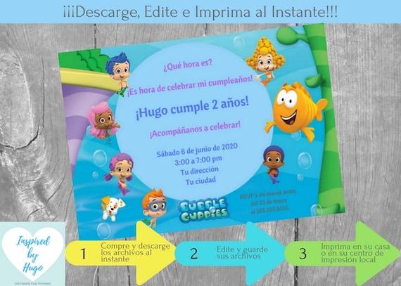 Invitación Bubble Guppies Fiesta Cumpleaños Niño Y Tarjeta De Agradecimiento Descarga Instantánea Invitación En Español Para Personalizar