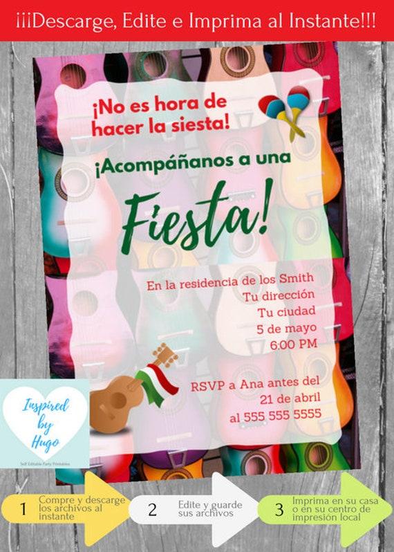 Invitación Fiesta Mexicana Invitación Fiesta Fiesta Mexicana Descarga Instantánea Invitación En Español Editable Para Personalizar