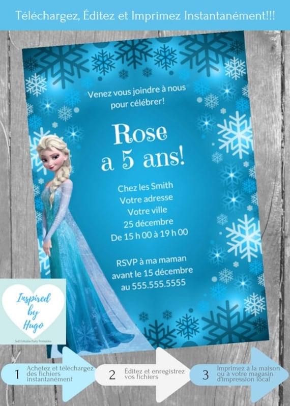 Invitation La Reine Des Neiges Fete D Anniversaire Disney Etsy
