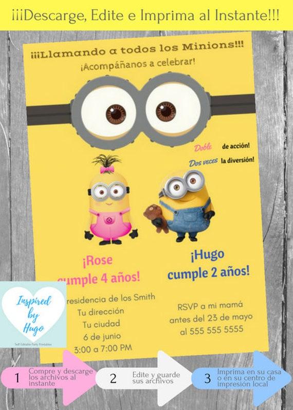 Invitación Doble Minion Fiesta Cumpleaños Niños Mi Villano Favorito Descarga Instantánea Invitación En Español Editable Para Personalizar