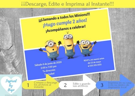 Invitación Minion Fiesta De Cumpleaños Niño Mi Villano Favorito Descarga Instantánea Invitación En Español Editable Para Personalizar