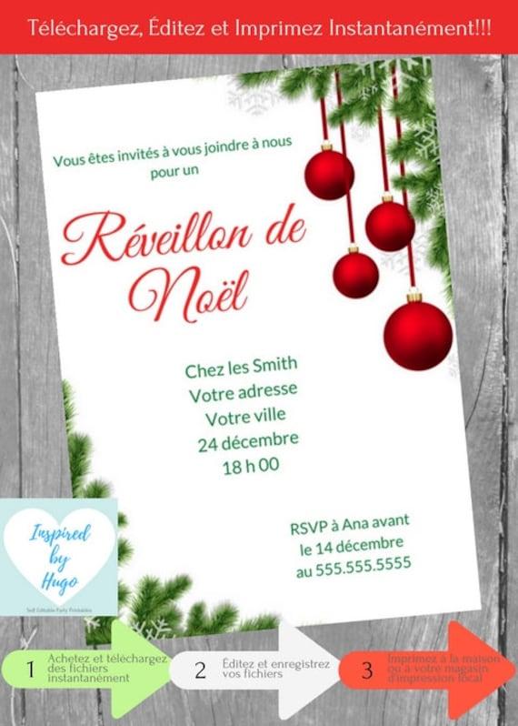Invitation Réveillon de Noël Repas de Noël Souper de Noël | Etsy