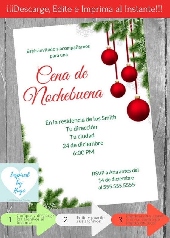 Invitación Cena De Nochebuena Invitación Cena Familiar Empresarial Descarga Instantánea Invitación En Español Editable Para Personalizar