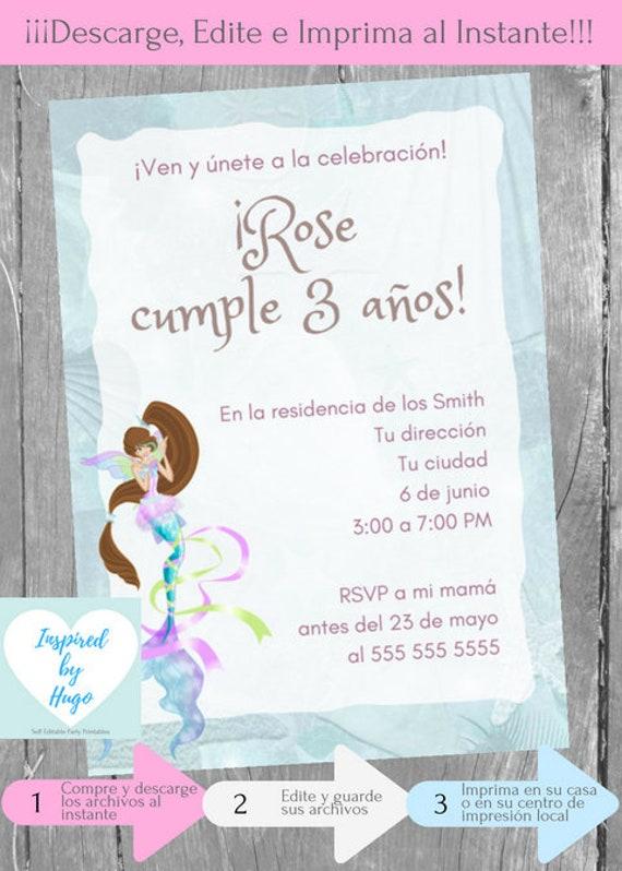 Invitación Sirena Fiesta De Cumpleaños Niña Invitación Sirenita Descarga Instantánea Invitación En Español Editable Para Personalizar