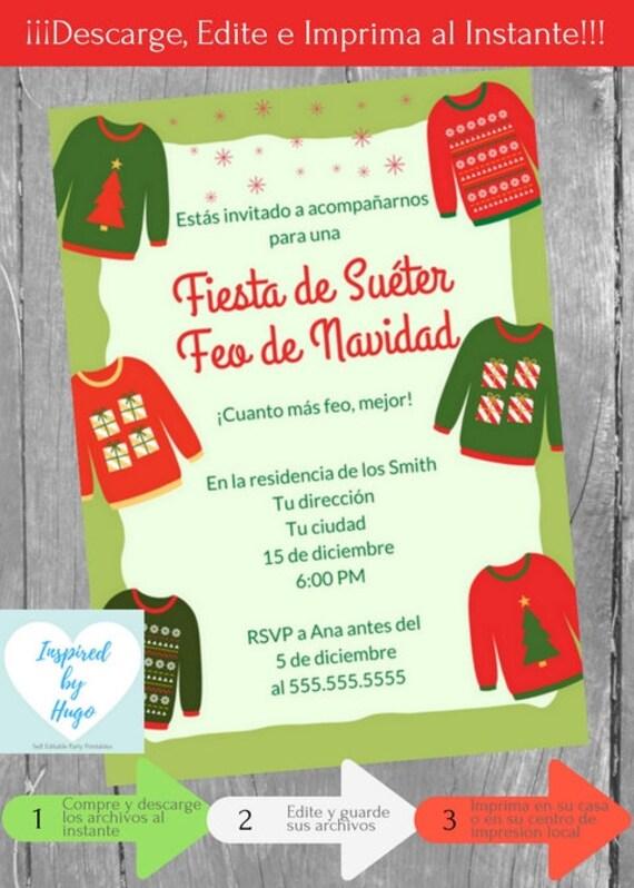 Invitación Fiesta De Suéter Feo De Navidad Fiesta Navideña Invierno Descarga Instantánea Invitación En Español Editable Para Personalizar