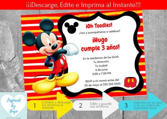Invitación Mickey Mouse Fiesta Cumpleaños Niño La Casa Mickey Mouse Descarga Instantánea Invitación En Español Editable Para Personalizar