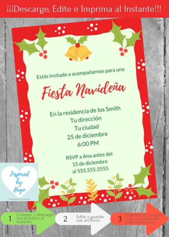 Invitación Fiesta Navideña Invitación Fiesta Familiar Empresarial Descarga Instantánea Invitación En Español Editable Para Personalizar