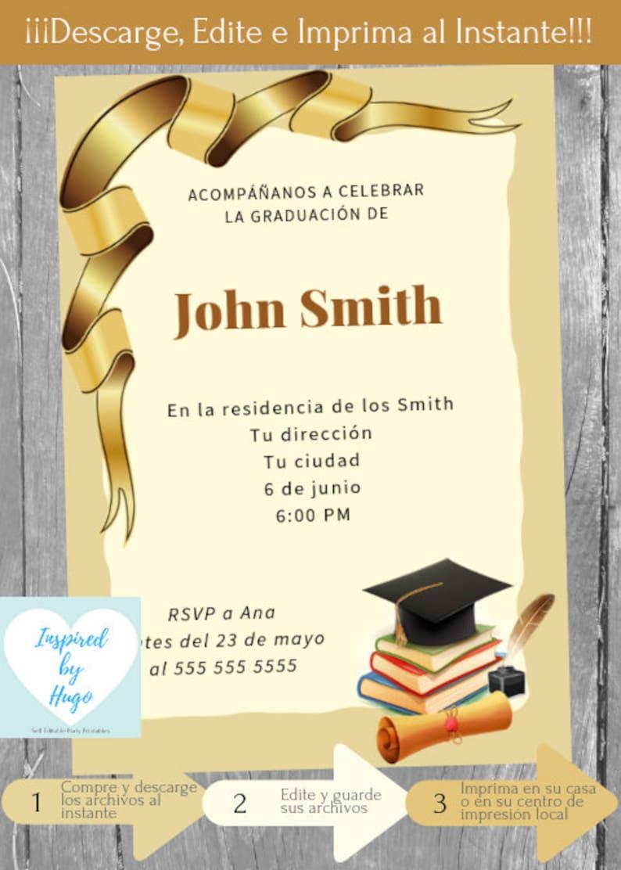 Invitación Fiesta De Graduación Invitación Baile De Graduación Descarga Instantánea Invitación En Español Editable Para Personalizar