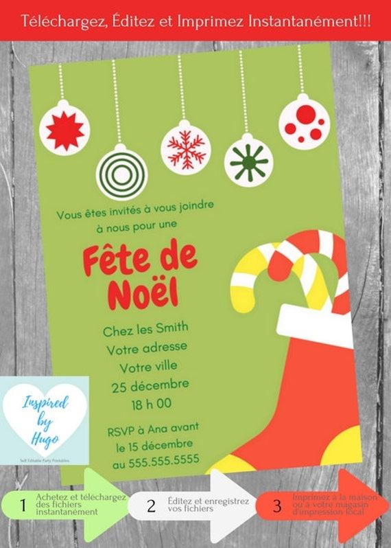 Invitation Fête De Noël Fête D Entreprise Fête De Famille Noël Téléchargement Instantané Invitation En Français éditable à Personnaliser