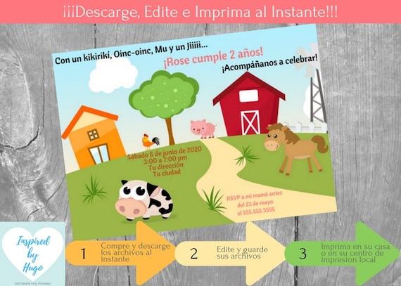Invitación Animales Granja Fiesta Cumpleaños Niña Y Tarjeta De Agradecimiento Descarga Instantánea Invitación En Español Para Personalizar