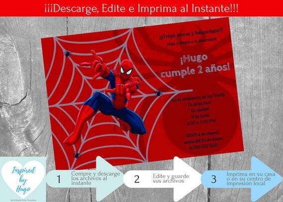 Invitación Hombre Araña Cumpleaños Niño Invitación Hombre Araña Spiderman Descarga Instantánea Invitación En Español Para Personalizar