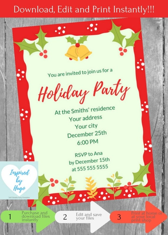 Holiday Party Invitation Corporate Family Office Holiday Etsy