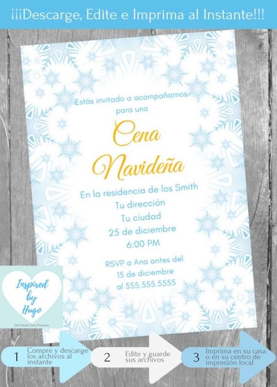 Invitación Cena Navideña Invitación Cena Familiar Cena Empresarial Descarga Instantánea Invitación En Español Editable Para Personalizar