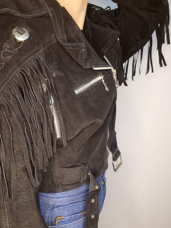 Vintage suede fringe motorcycle jacket