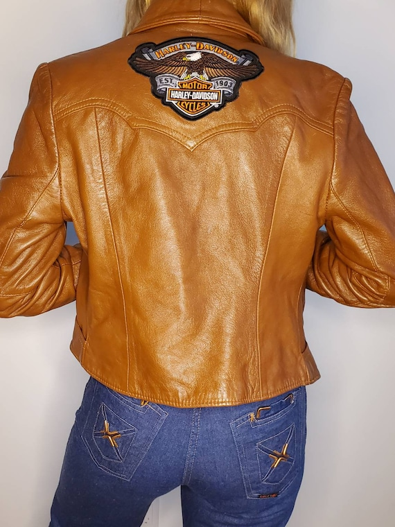 Vintage leather jacket with Harley patch