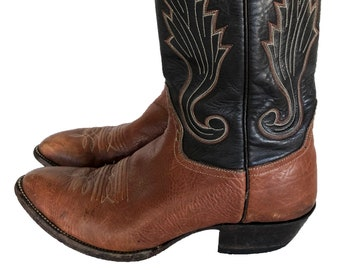 aaa47efa 80's Vintage Cowboy Boots in Two Tone Black & Brown Genuine Leather By  Hondo Boots, El Paso