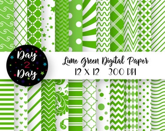 Summer Pool Party and Vacation Scrapbook Paper Bright Lime Green Digital Paper Backgrounds With Flowers Polka Dots Stripes /& Chevrons