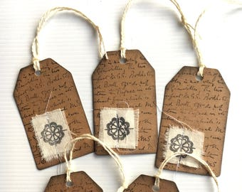 5 Kraft Handmade Tags ... Great for Junk Journals & Scrapbooking