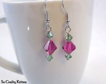 Pink and Green Sparkly Crystal Drop Earrings like Rosebuds
