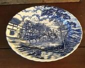Myott Royal Mail Blue Oval Serving Platter Staffordshire Ironstone Transferware