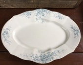 Antique Colonial Pottery Stoke England Cluny Oval Blue Transferware Platter 1890-1900 Underside Chip