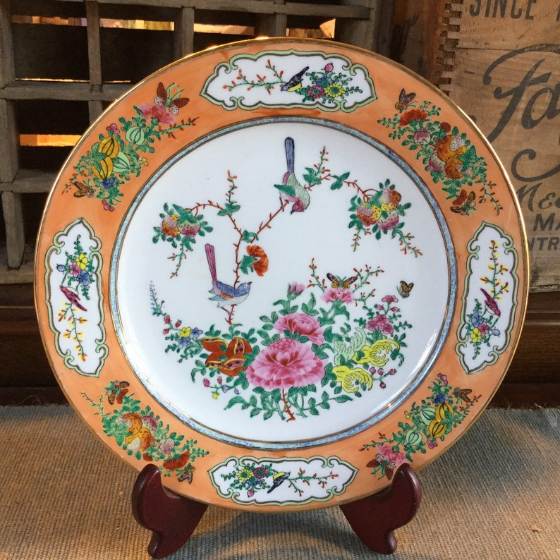 Vibrant Oriental Handpainted Raised Enamel Cabinet Plate  Signed