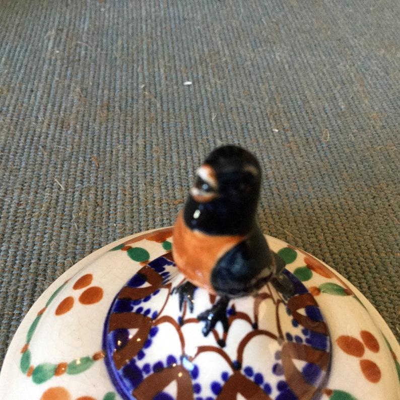 Antique Royal Copenhagen Aluminia Faience  Black Bird  Covered Jar  Artist Signed and Dated