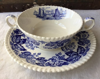 Copeland Spode / Old Salem Cream Soup Cup and Underplate / Blue and White