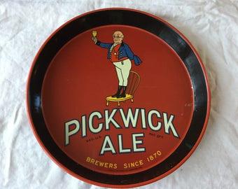 Vintage 1940's Pickwick Ale Beer Tray / Boston MA / Haffenreffer / Man on Chair