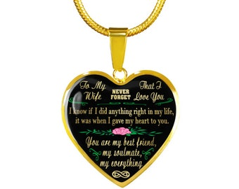 To my wife, my soulmate, never forget I love you - gold steel pendant necklace