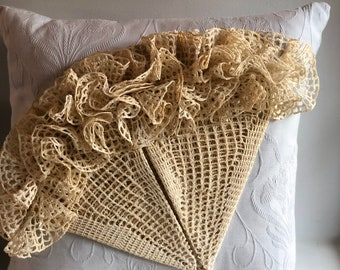 Antique Decorative Pillows with Hand-Crocheted Lace Accents
