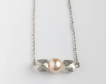 Swarovski Crystal Necklace - Pink Pearl Necklace - Pink Pearl and Crystal Necklace - Minimalist Jewelry -