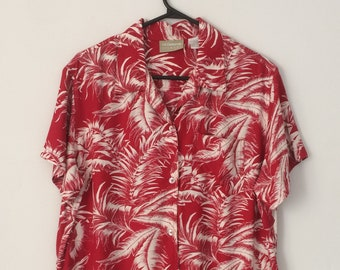 100967ce MINT Women's Liz Claiborne 80's 90's sz L Red Rayon Hibiscus Hawaiian Aloha  shirt Reyn Spooner Paradise Found Sun Surf Avanti