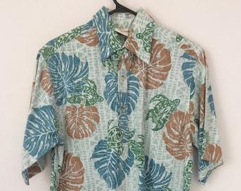 6b125e0a Go Barefoot Reverse Print Aloha Hawaiian shirt cotton size M Paradise Found  Reyn Spooner Magnum PI