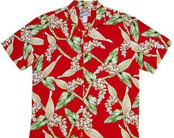fdff41a6 Paradise Found Magnum PI Aloha Hawaiian Shirt Size L Red Ginger Rayon Reyn  Spooner