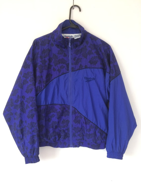 Vintage 80's Reebok royal blue women's M shell wind breaker full zip track jacket nylon polyamide lined
