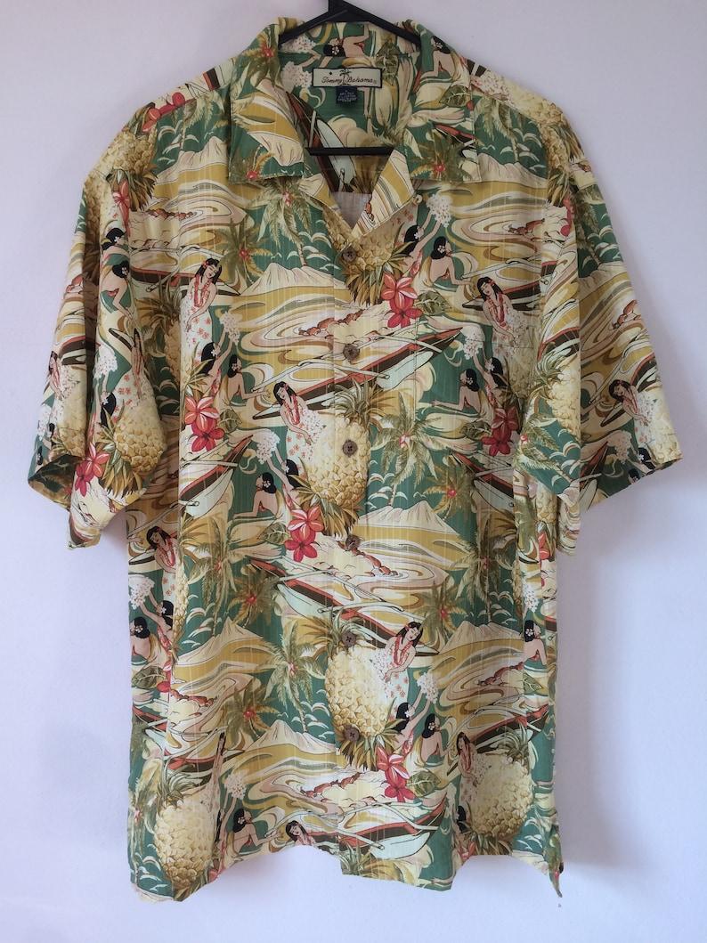 281fa2d6 Tommy Bahamas sz L yellow silk hula dancers pineapple Paradise | Etsy