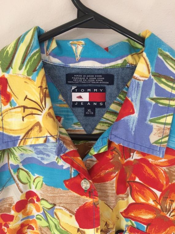 Vintage 90's Tommy Hilfiger woman's S boys XL Hawaiian shirt Cotton