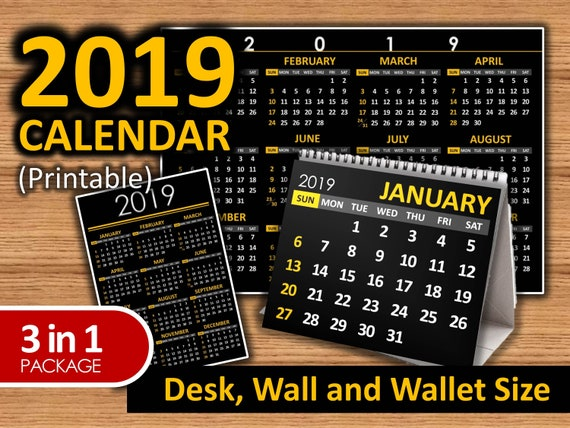 2019 Printable Calendar Black Available In Desk Wall And Etsy