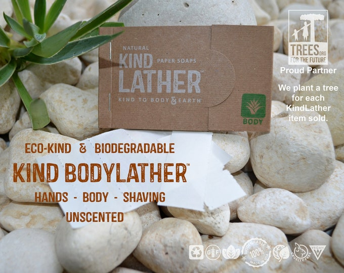 Zero Waste UNSCENTED Natural Body Wash – Biodegradable Paper Soap Sheets. Perfect for Travel, All Outdoor Adventures & Every Public Restroom