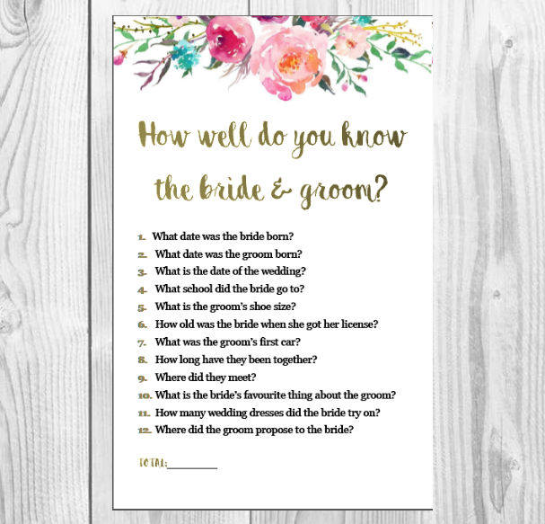 How Well Do You Know The Bride And Groom Kitchen Tea Game